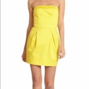 French Connection | yellow strapless dress pockets